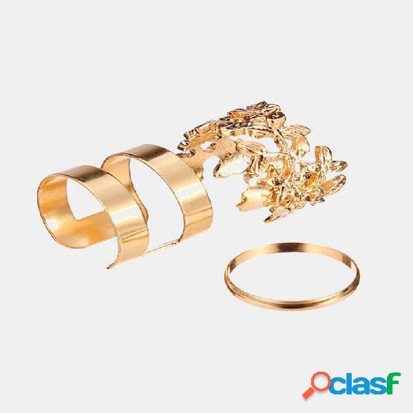 3 peças ocas para fora de folhas banda anéis de articulação midi anéis ajustáveis para mulheres