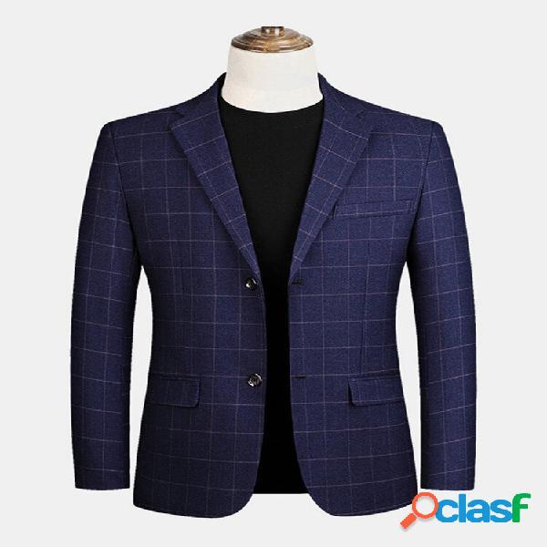 Blazers casuais de gola plana masculina xadrez single com bolsos de aba