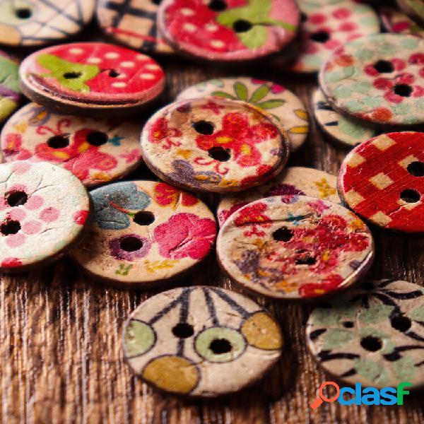 100 unidades costura retro de madeira botões decoração diy costura de solidez artesanato botões