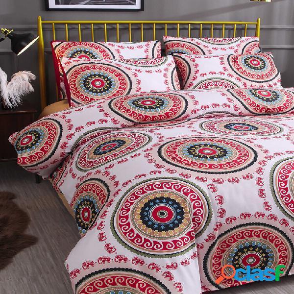 2/3 pcs bohemian national style geométrico padrão conjunto de cama confortável fronha de capa de edredão