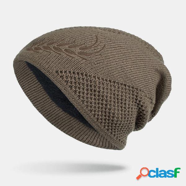 Masculino inverno plus veludo bordado com orelhas de trigo ao ar livre jacquard longo tricotado quente gorro quente chap