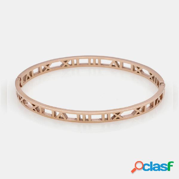 Pulseiras com número romano oco da moda em aço titânio encanto pulseiras de ouro para mulheres para homens