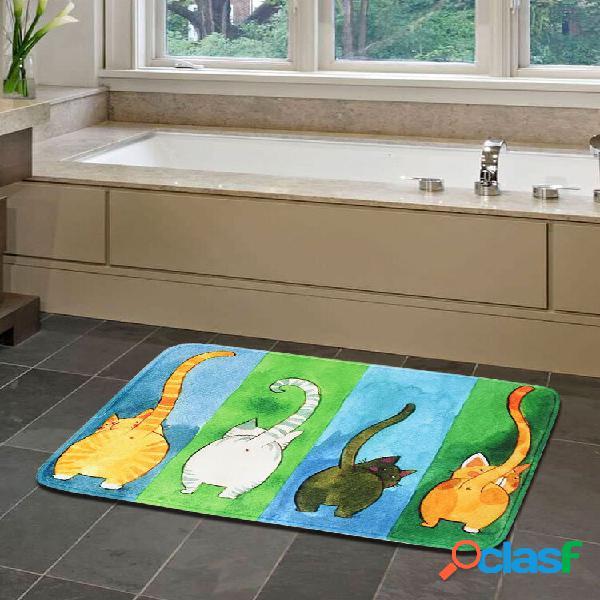 Cartoon cats padrão soft cobertor de porta antiderrapante tapete tapete de cozinha tapete interno decoração externa