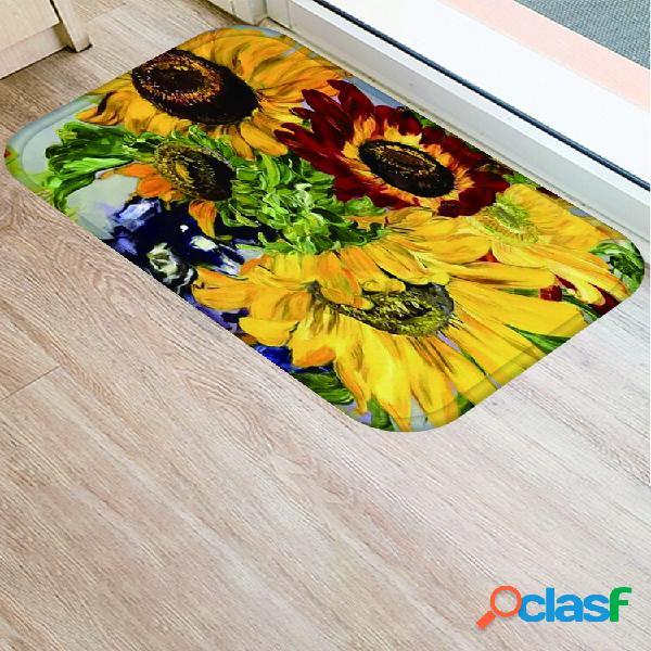 Estampa floral de sobreposição padrão tapetes de flanela de absorção de água tapete antiderrapante para banheiro tapete