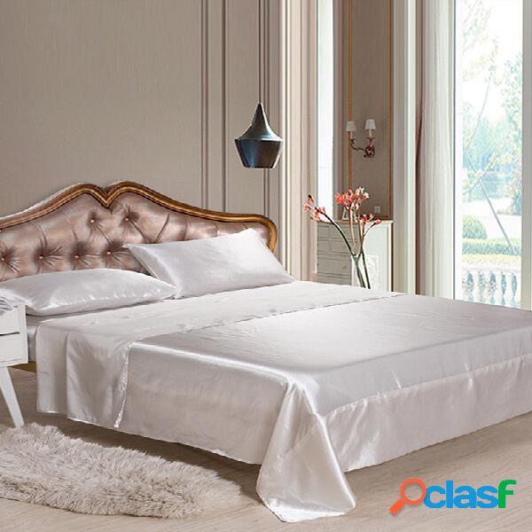 Silk like soft conjuntos de lençóis justos satin us twin / queen / king tamanhos completos roupa de cama de cor sólida 4