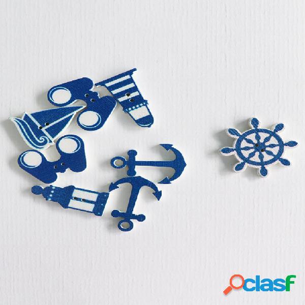 100 unidades blue sea costura de madeira botões binóculos de barco do leme de farol com 2 furos acessórios de artesanato