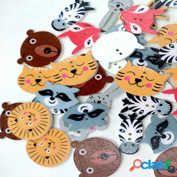 50 unidades de madeira de cor mista botões animal fofo padrão costura botões artesanato de decoração