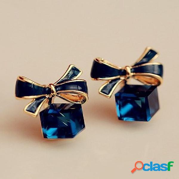 Moda orelha stud brincos tinta azul boekont água cube cristal geométrico brincos jóias para mulheres