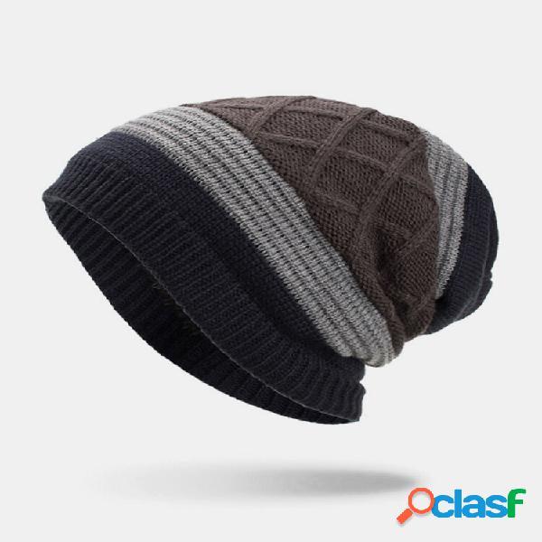Masculino inverno plus veludo listrado padrão gorro quente de malha externa chapéu