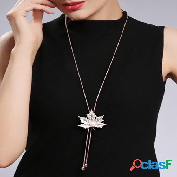 Moda pingente colar longo maple folha corrente encanto colar suéter jóia para mulheres