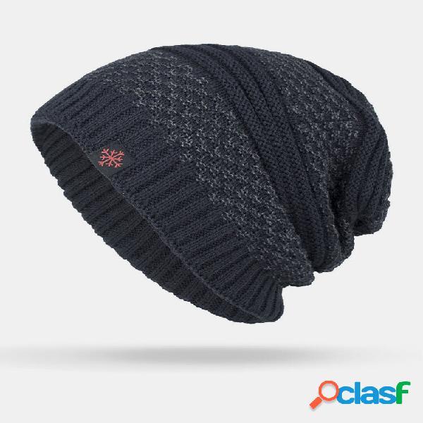 Masculino inverno plus veludo contraste listrado padrão gorro quente de malha externa chapéu
