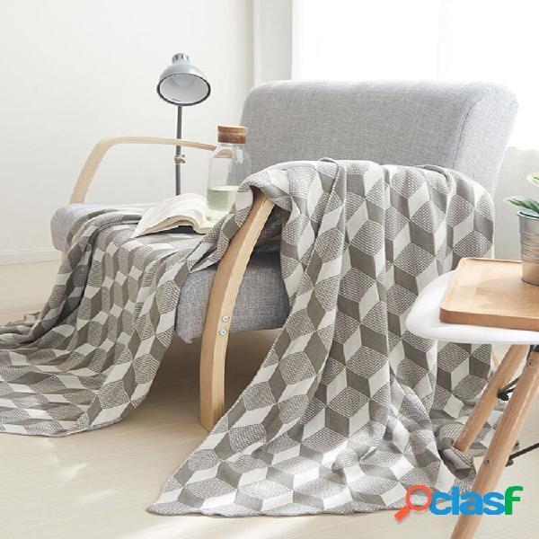 Algodão de malha geométrica padrão cobertor de lance kids autumn spring soft cobertor de dormir cobertor de sofá coberto