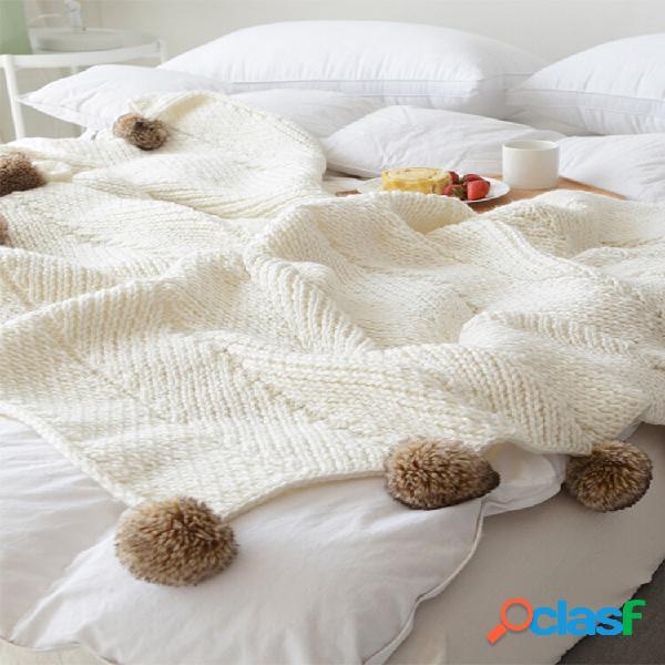 Manta de lançamento de bola de malha autumn spring soft manta de dormir cobertor de sofá manta de joelho