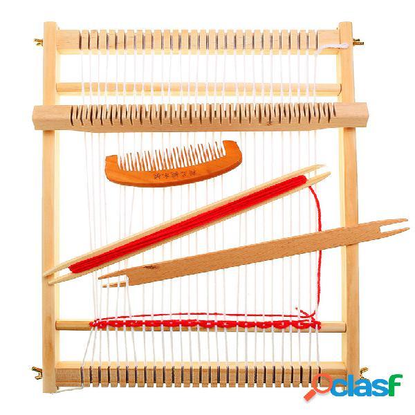 Máquina de tear tradicional de madeira diy adequada para crianças iniciantes de tecelagem artesanato de tricô
