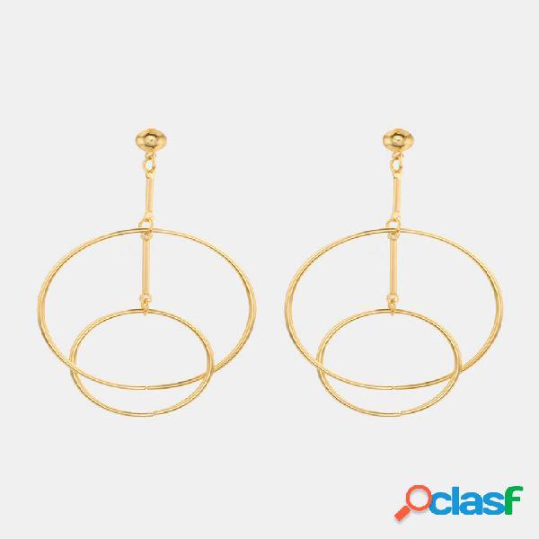 Moda orelha drop brincos oco duplo círculo combinação aro dangle brincos jóias para mulheres
