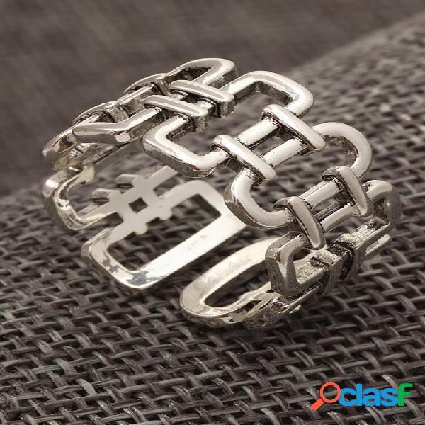 Anel aberto geométrico vintage punk com algarismos romanos oco ajustável masculino cauda anel