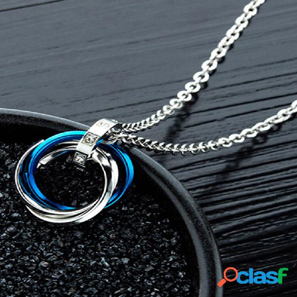 Colar estereoscópico geométrico moderno com três anéis pingente colar de corrente dupla de aço titânio