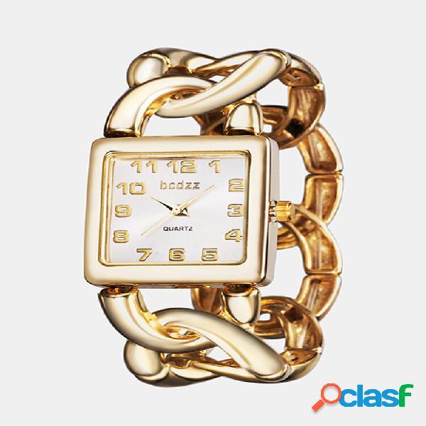 Moda feminina elegante relógio de pulso com mostrador quadrado oco braceletes de quartzo watch