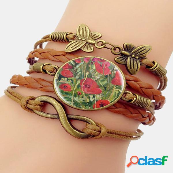 Pulseira de pedras preciosas multicamadas com estampa floral vintage vermelho padrão borboleta trançada