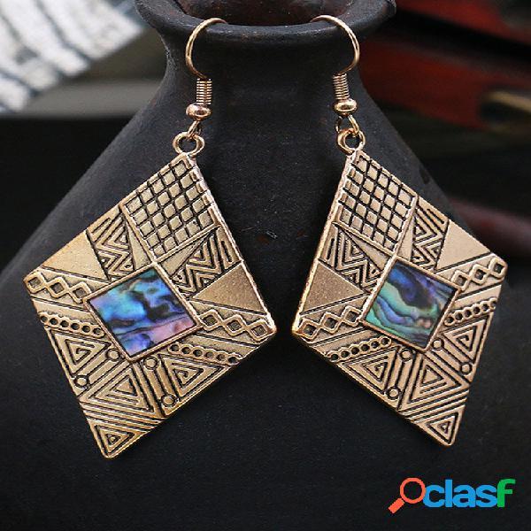 Rombo geométrico vintage feminino brincos concha natural pingente brincos joia presente