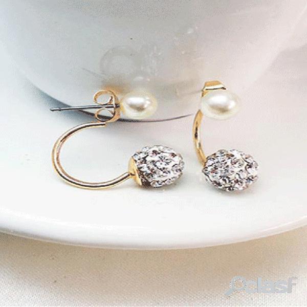Sweet orelha stud brincos sllver gold rhinestone ball pérola orelha drop orelharing jóias da moda para mulheres