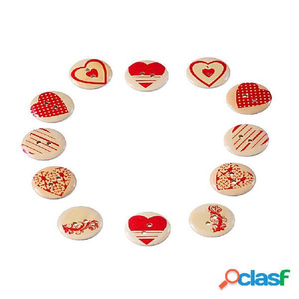 100 pcs multicolor coração em forma de 2 furos costura madeira botões