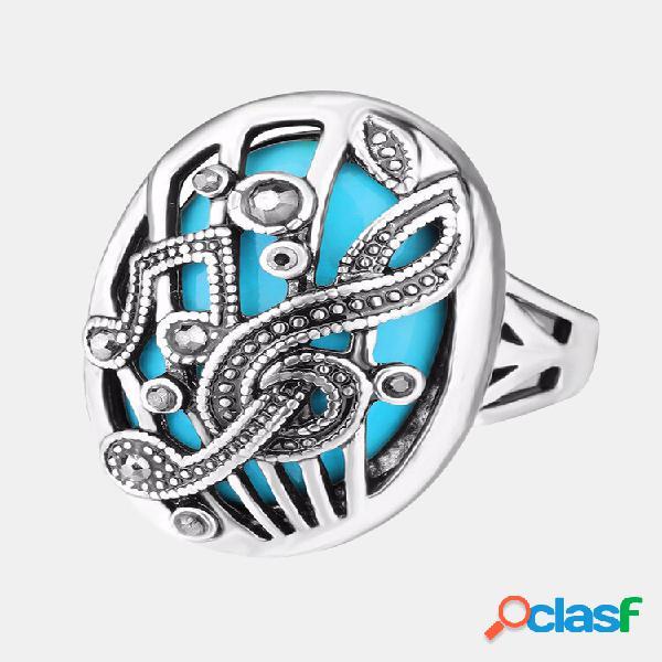 Anel de dedo vintage oco esculpir música combinar strass anel oval geométrico joias étnicas para mulheres