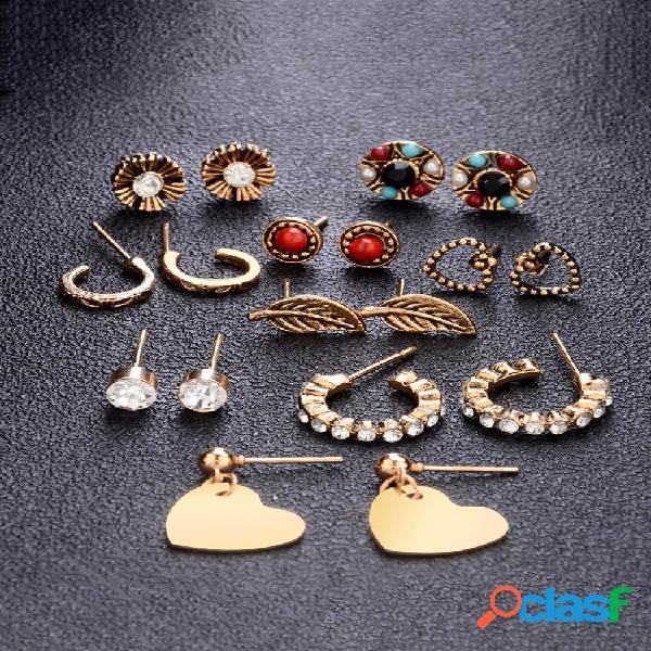 Conjunto de pregos de strass de metal geométrico vintage brincos em forma de coração de diamante vintage brincos