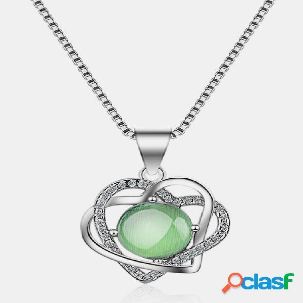 Moda pingente colares corações duplos cristal redondo verde uva encanto colares femininos