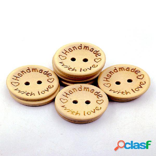 100 unidades de cor natural de madeira botões emoji sorriso rosto letra botão tecido artesanal acessórios faça você mesm