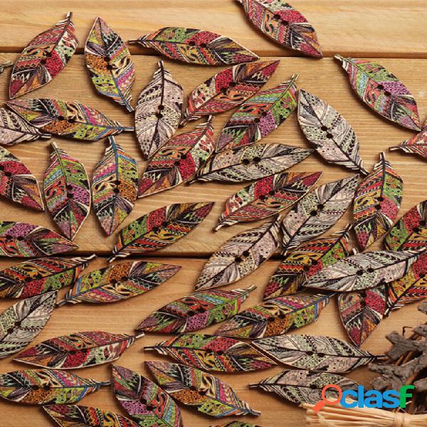 50 unidades estilo retro folhas em forma de madeira botões costura lavável botões materiais de artesanato para decoração