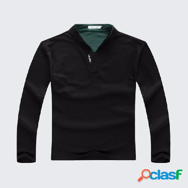 6 cores mens sports cor sólida de manga comprida casual algodão camisas de golfe