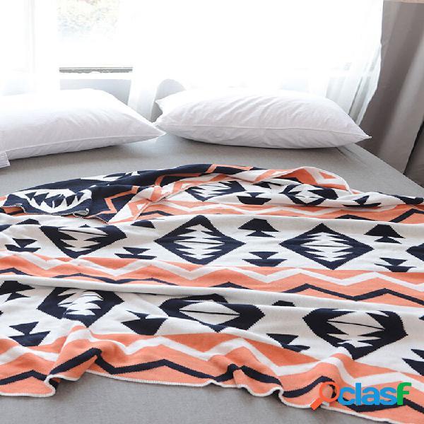 Algodão nórdico contraste cor geométrica de malha throw manta autumn spring soft manta de dormir cobertor de sofá manta