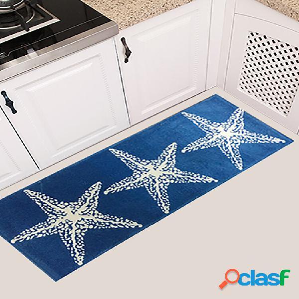 Impressão em estrela de 45x115cm antiderrapante soft tapete de flanela para porta de cozinha tapete de piso banheiro