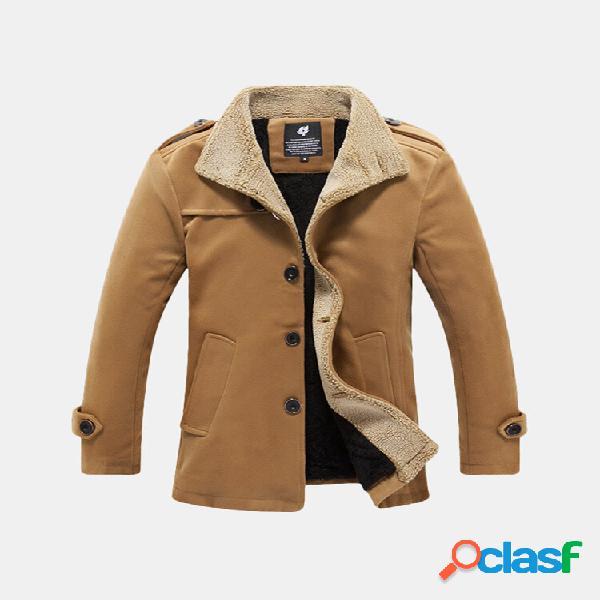 Mens comprimento médio botões de costura coleira cor sólida do vintage quente casaco