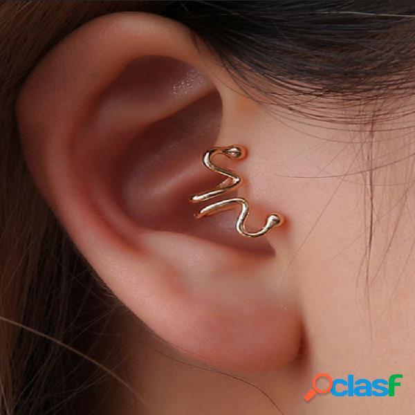 Moda orelha clipe brincos palito de fósforo animal osso de cobra orelha manguito brincos joias étnicas para mulheres
