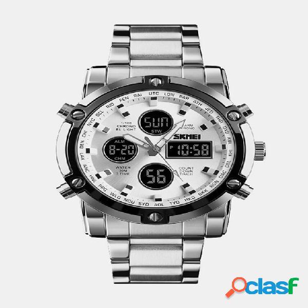 Multifuncional big dial men business watch alarme luminous waterproof quartz watches