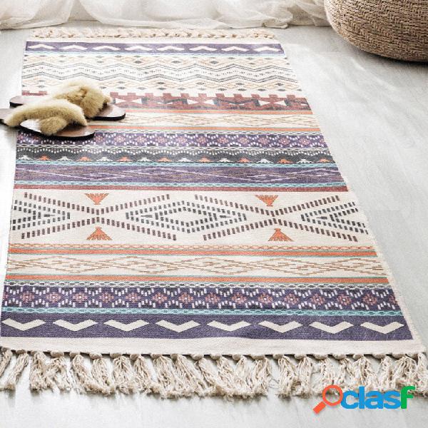 Tapete de linho de algodão tecido com borla retrô boêmio tapete de cabeceira tapete geométrico tapete longo colcha tapeç