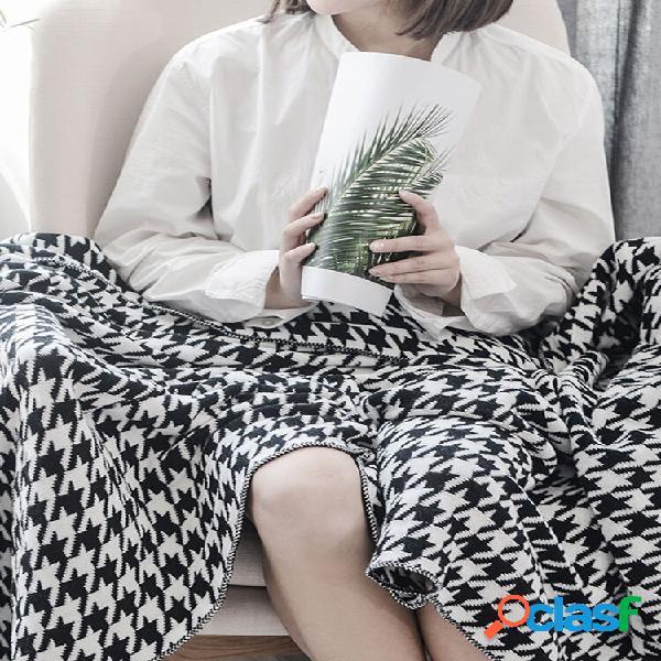 Cobertor houndstooth de malha de algodão nórdico autumn spring soft cobertor de dormir cobertor de sofá cobertor de joel
