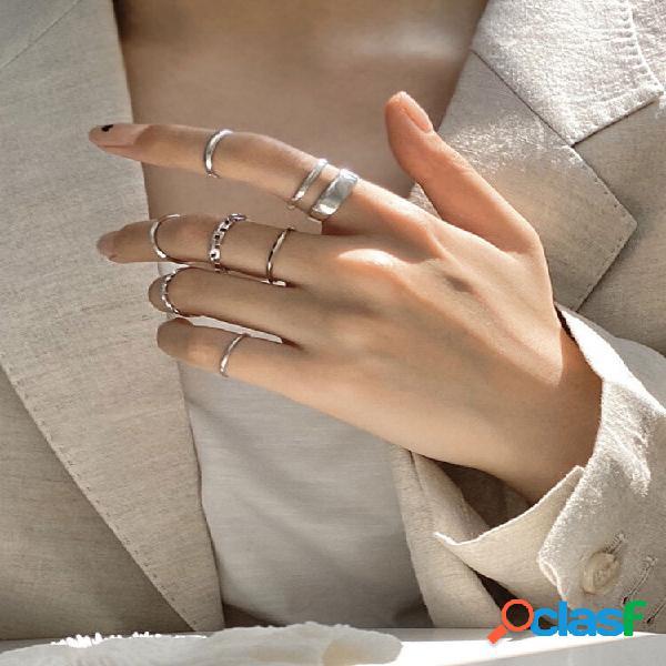 Anéis de articulação do dedo indicador ajustáveis com abertura geométrica de metal moderno