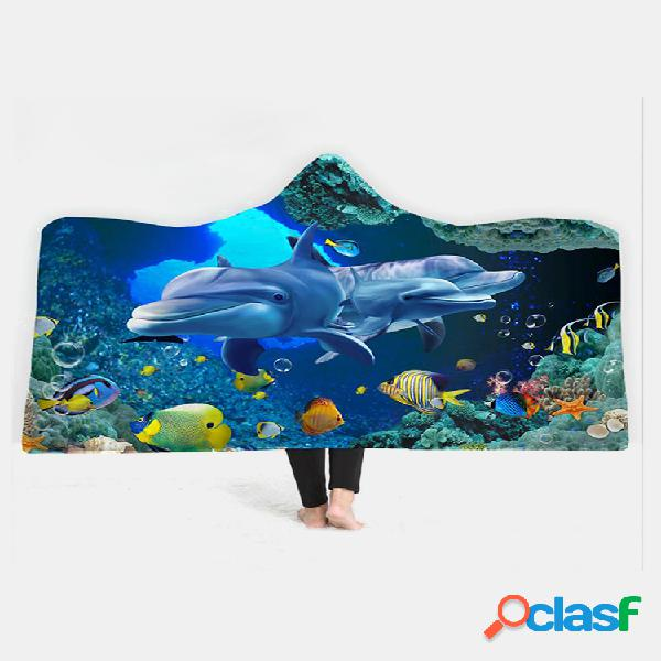 Cobertor 150x200cm ocean scenery series com capuz e tapete de pelúcia vestível para aquecimento
