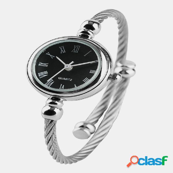 Relógios de pulso femininos com mostrador pequeno da moda em aço inoxidável pulseiras com números romanos relógios femin