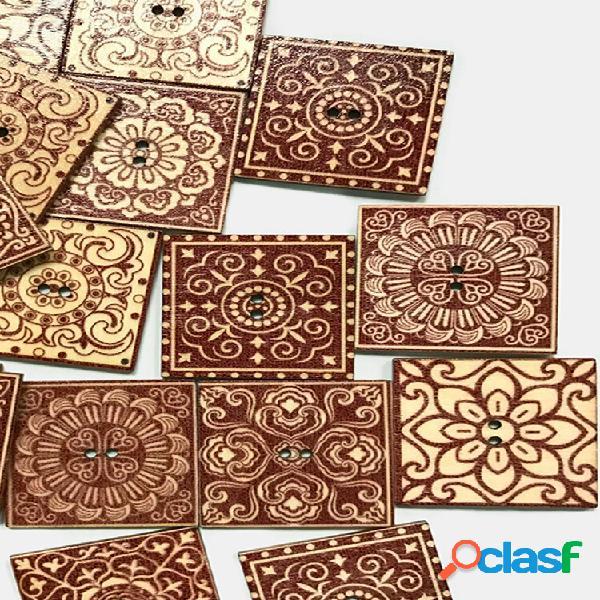 50 unidades retro madeira padrão botões chip quadrado acessórios decorativos europeus faça você mesmo feito à mão botões