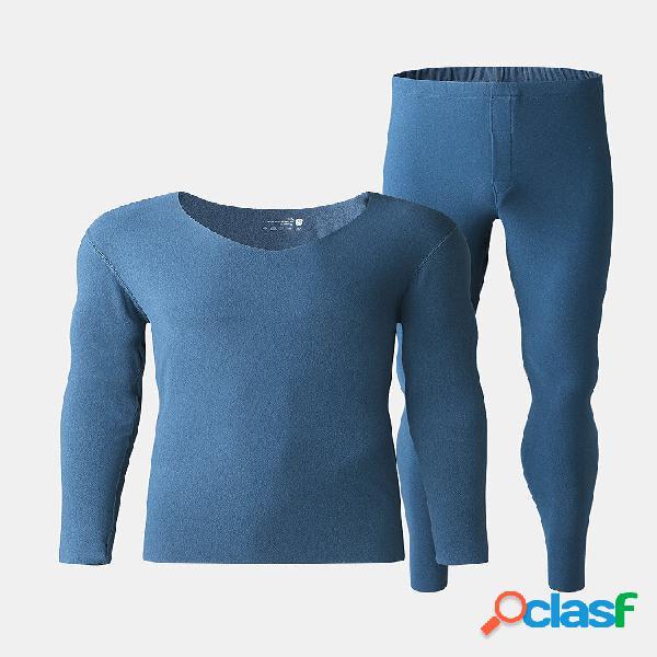 Conjunto de pijamas masculinos de cor sólida sem costura elástica skinny para casa