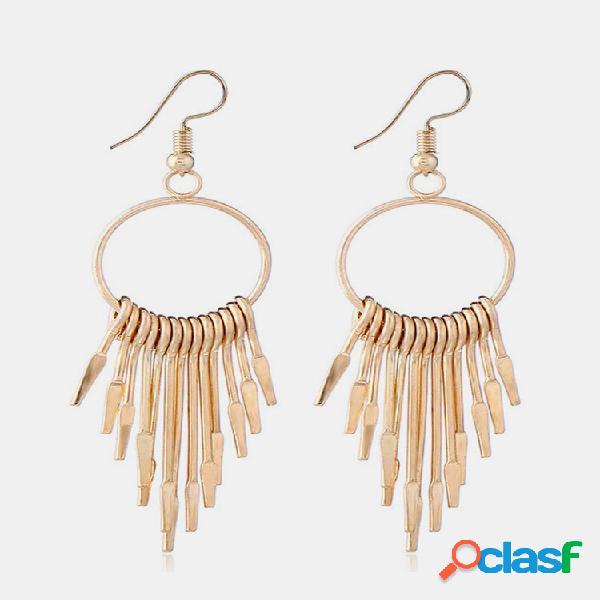 Moda orelha drop brincos borlas geométricas circulares ocas joias para mulheres