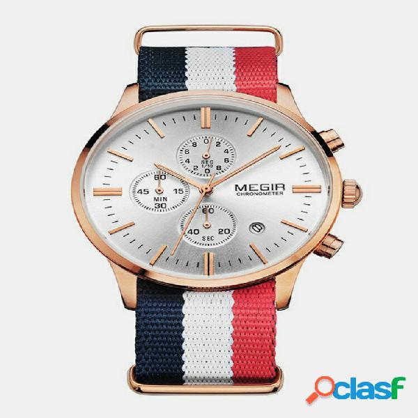 Trendy sports men watch liga de alça de tecido caso data chronograph quartz à prova d'água watch