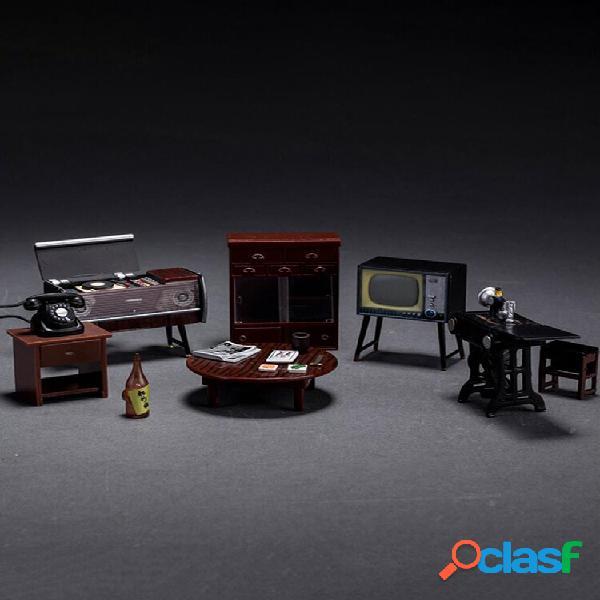 6 unidades / conjunto mini janpanese boneca conjunto de móveis vintage em miniatura para casa, decoração