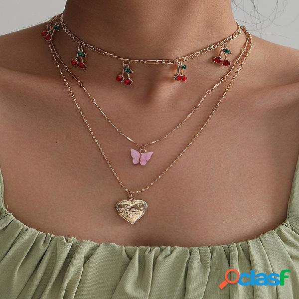 Colar de várias camadas com borla de cereja na moda, metal love pingente corrente de clavícula