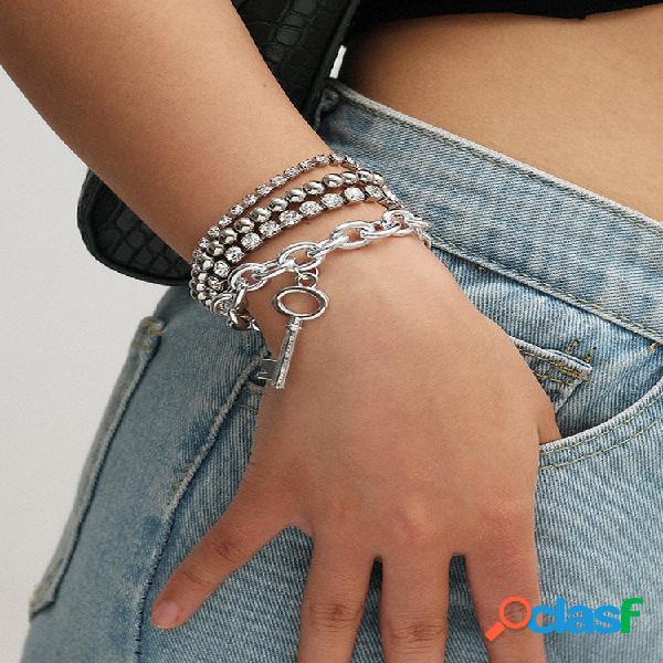 Conjunto de pulseiras de contas de diamante da moda pulseiras de liga de temperamento vazadas