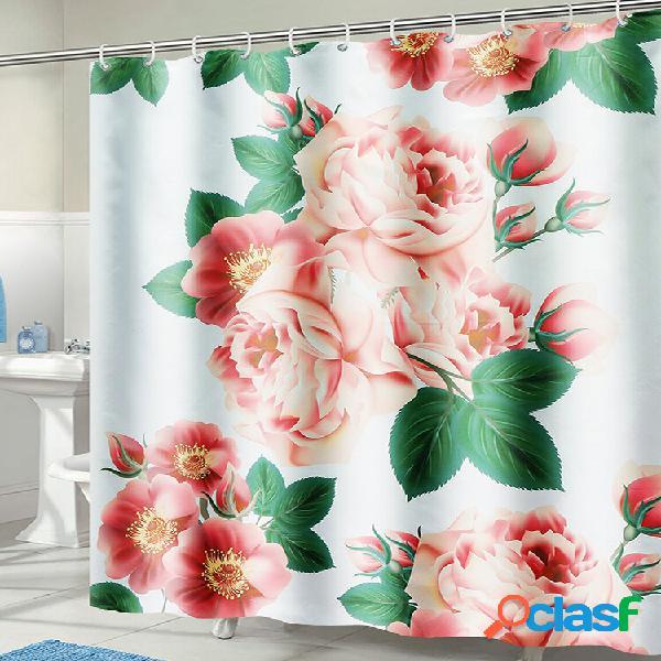 71 '' x 71 '' long peach blossom padrão cortina de chuveiro à prova d'água de poliéster com ganchos
